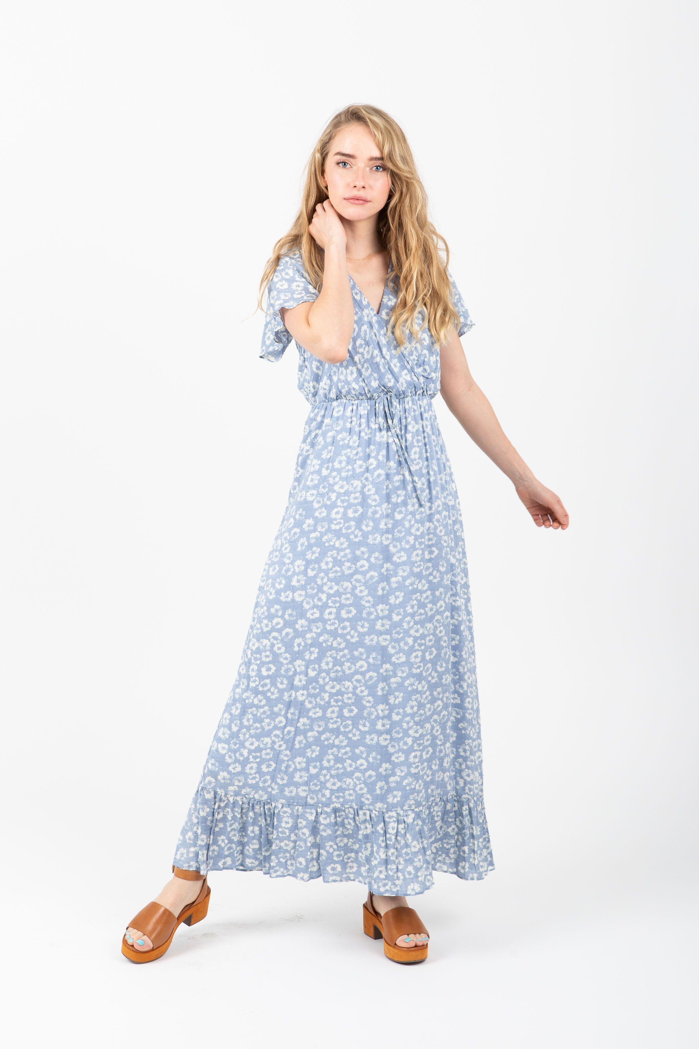 ef9b0f97a77f The Soar Floral Ruffle Maxi Dress in Blue – Piper & Scoot