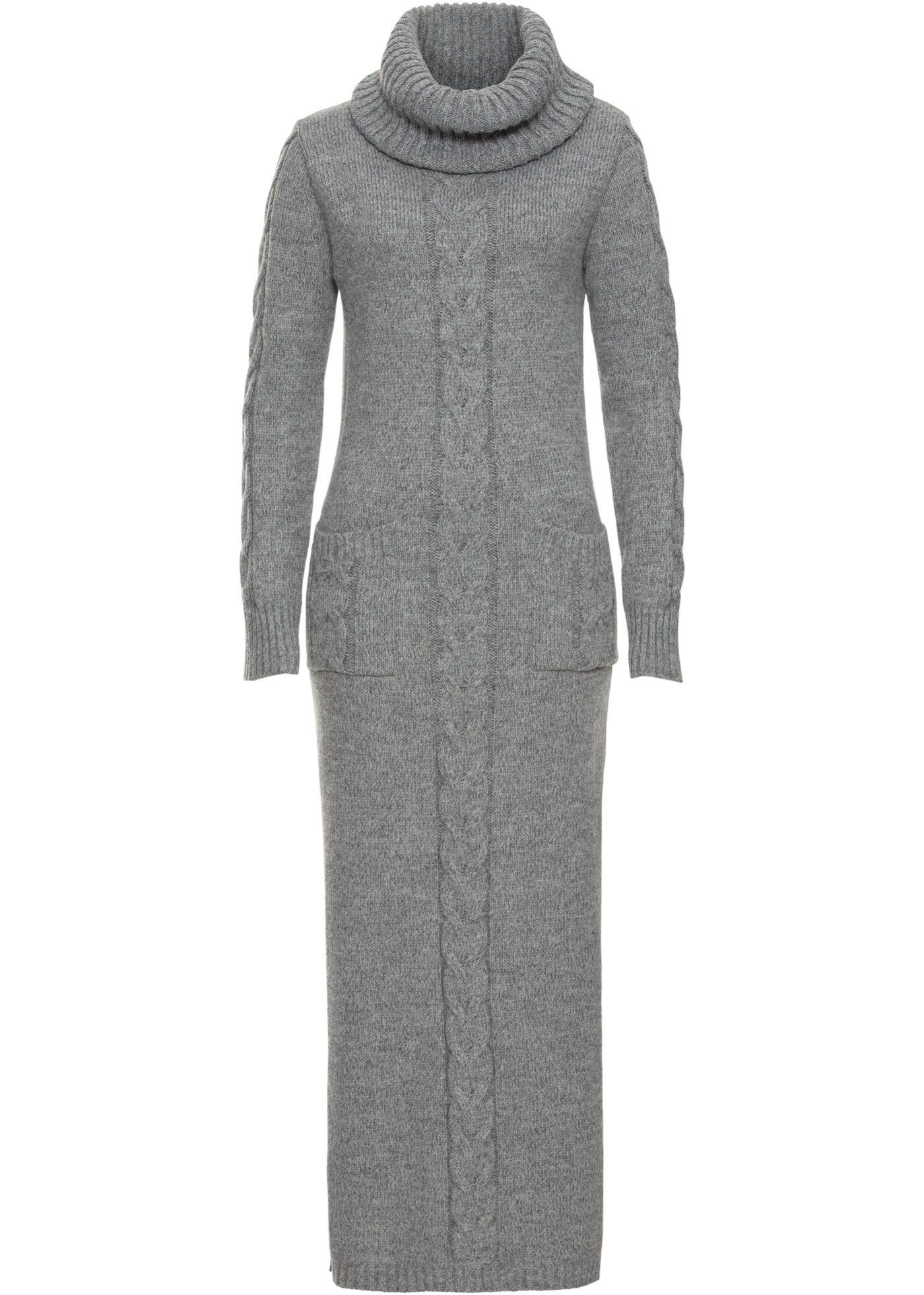 13e8cbbadb1ec6 Gebreide jurk grijs gemêleerd nu in de onlineshop van bonprix.nl vanaf   39.99  bestellen. Een klassieker voor koude dagen! Gebreide jurk in een universele  .