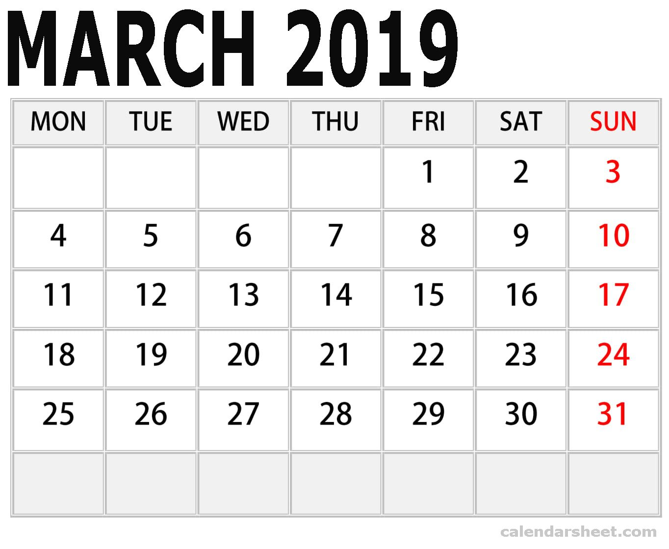 Calendar For March 2019 By Month Calendar printables