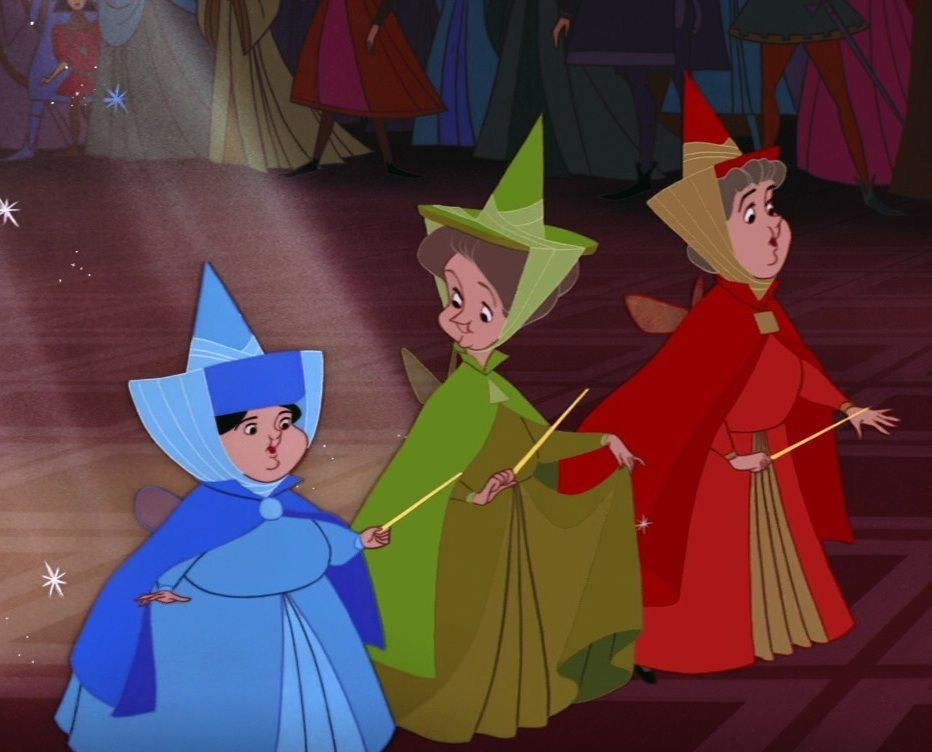 Flora Fauna And Merryweather With Images Sleeping Beauty