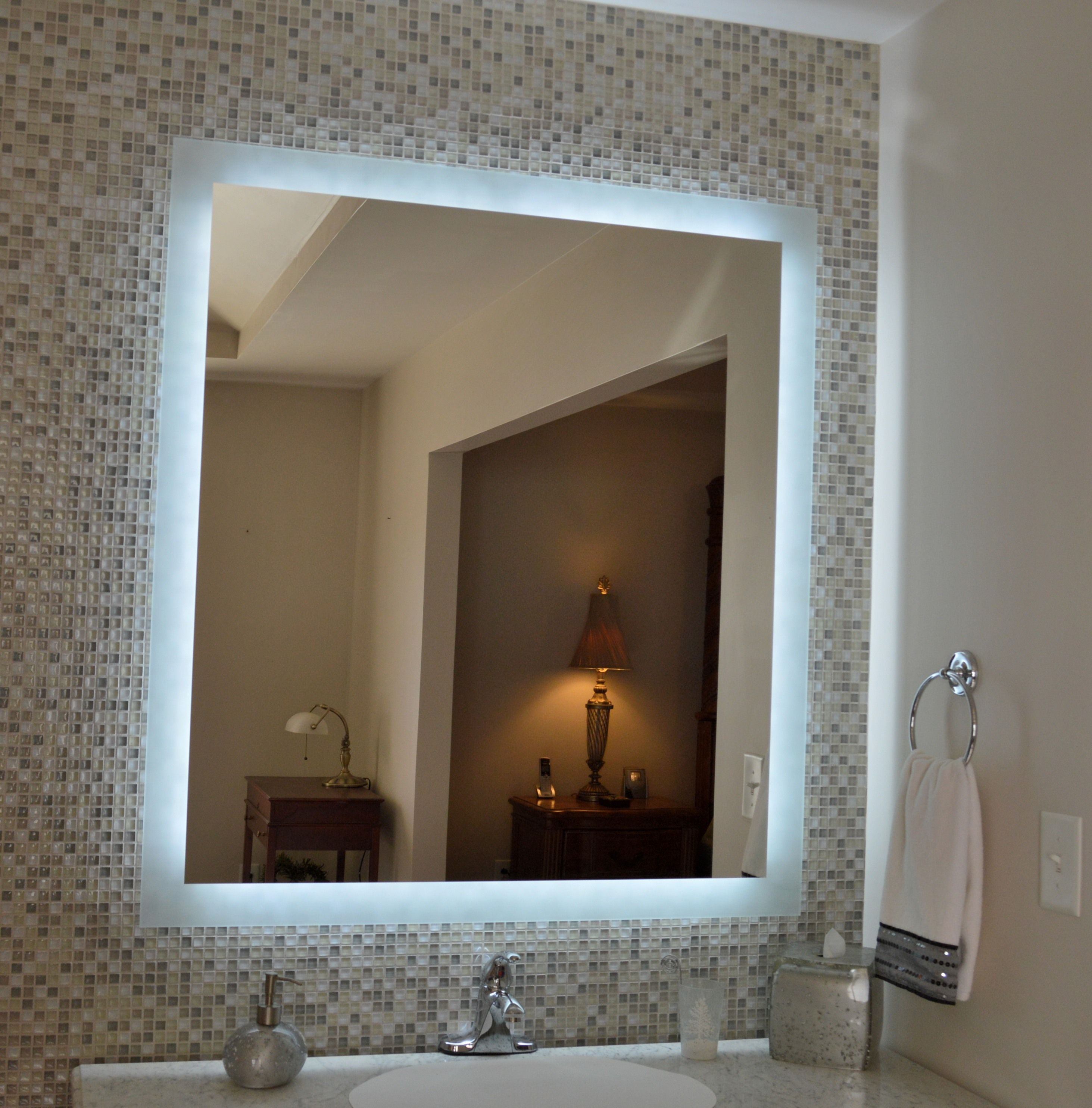 Tall Bathroom Mirrors Our Mam94044 Side Lighted Mirror 40 Quot Wide X 44 Quot Tall Led