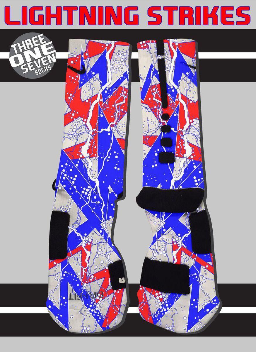 9cf3299cb955f Lightning Strikes Custom Nike Elite Socks - Red, White, and Blue ...
