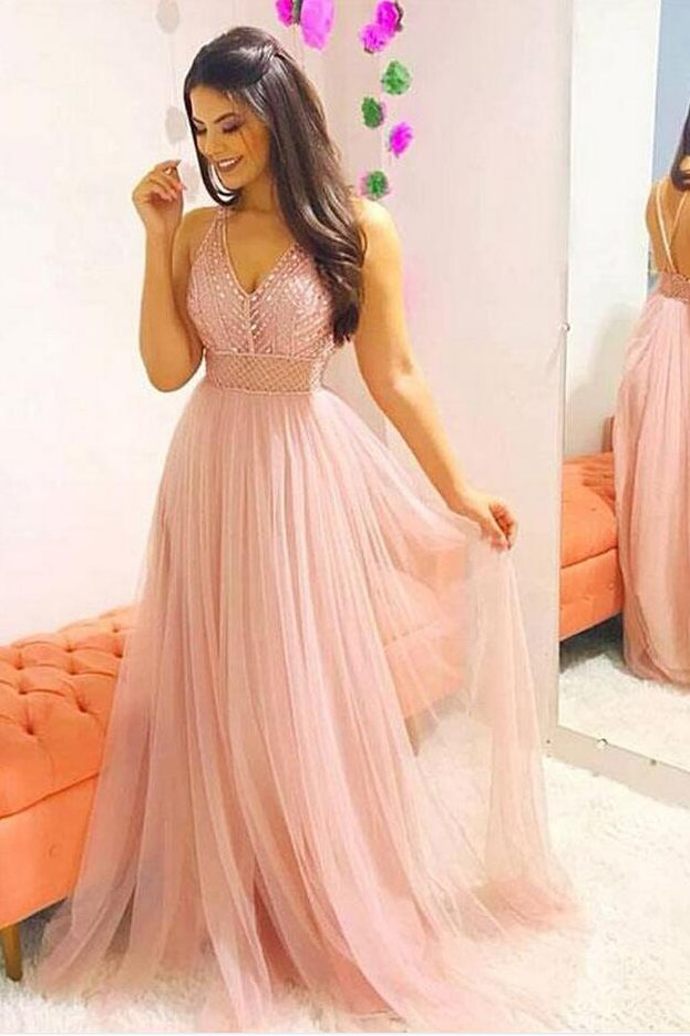 b455e110ddb1 Pink v neck tulle beaded long prom dress, pink evening dress by prom dresses,  $201.48 USD