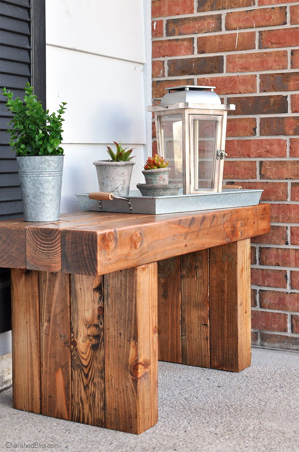 Diy outdoor table bench front porch bench and porch bench for Outdoor furniture for small front porch