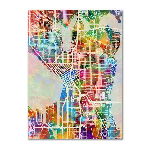 Michael Tompsett Seattle Washington Street Map Canvas Wall Art