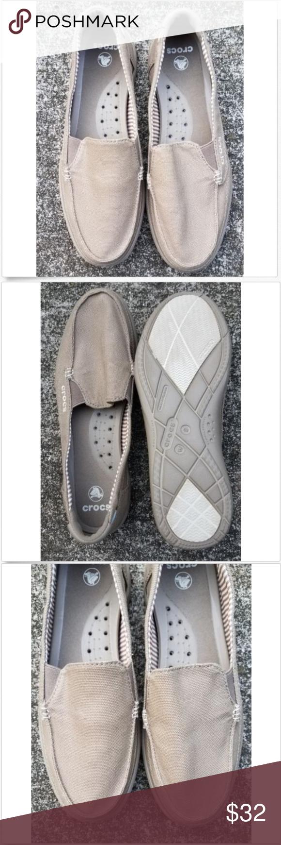 c3988497f7e9 CROCS canvas women shoes size 9 CROCS 14391 walu canvas slip on women shoes  size 9 color Khaki crocs Shoes