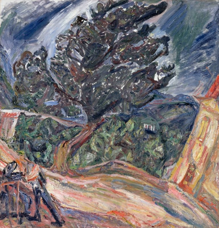 Chaïm Soutine 1893-1943 The Large Blue Tree Around 1920-1921 Oil on canvas 8380 RF 1963-85 Signed bottom right, on a slant, in red: Soutine. Musée de l'Orangerie