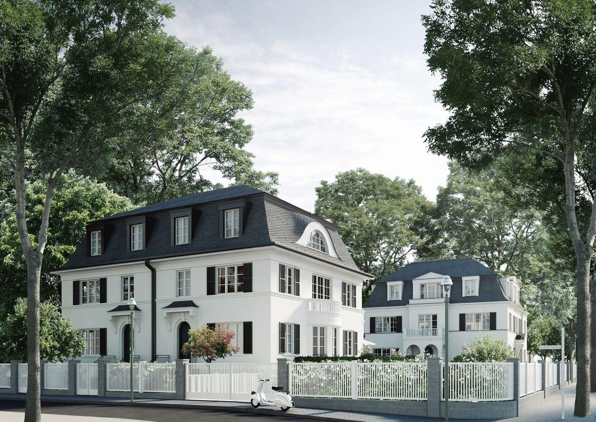 luxuri s wohnen im gr nen in einem duo zweier stadtvillen. Black Bedroom Furniture Sets. Home Design Ideas