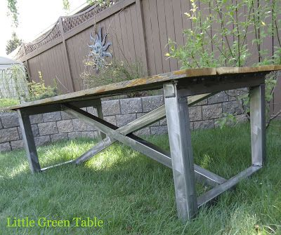 Weathered Cedar and Fabricated Metal Coffee Table...Little Green Table