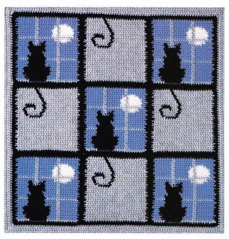 Cat in the Window Afghan and Pillow Crochet Pattern Blanket Throw