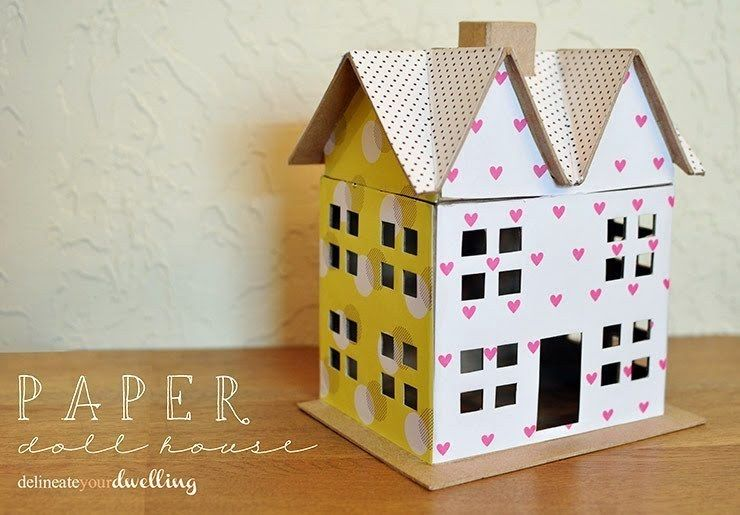 Scrapbook Paper Doll House  •  Free tutorial with pictures on how to make a dolls house in under 120 minutes #howto #tutorial
