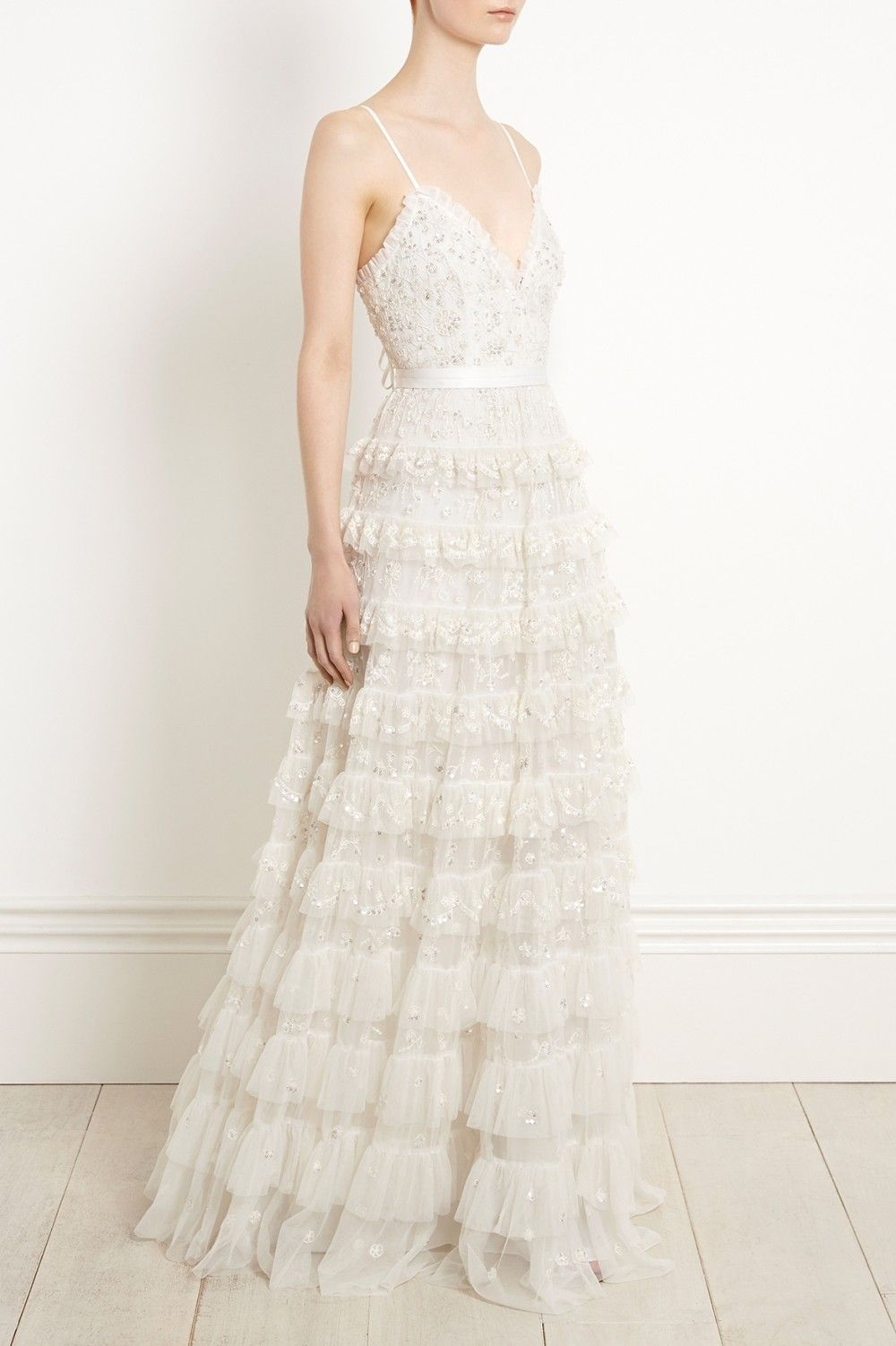 Lace wedding dress tulle november 2018 Needle u Thread The Marie Gown in Ivory beaded ruffle gown