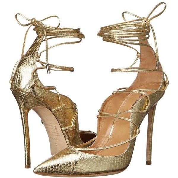 DSQUARED2 Riri Strappy Pump (Gold) Women's Shoes (€1.090) ❤ liked on Polyvore featuring shoes, pumps, heels, gold heel shoes, slip-on shoes, gold shoes, gold pointy toe pumps and gold pumps