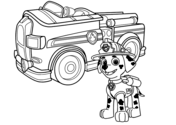 Paw Patrol Marshall With Fire Truck Coloring Page Paw Patrol Coloring Paw Patrol Coloring Pages Monster Truck Coloring Pages