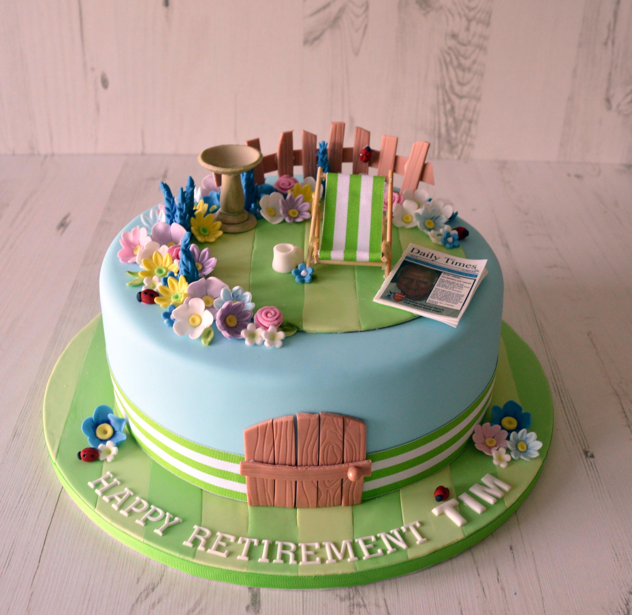 Garden Design Birthday Cake garden retirement cake, flowers, deckchair, newspaper | cakes