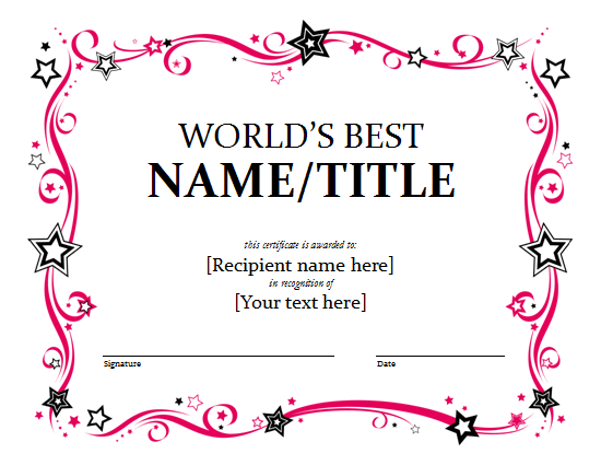 Award Certificate Template  Award Certificate Template For Word