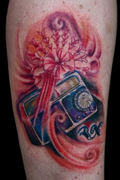 Abstract Old School Vintage Retro Radio Tattoo By Marco Ventura Of
