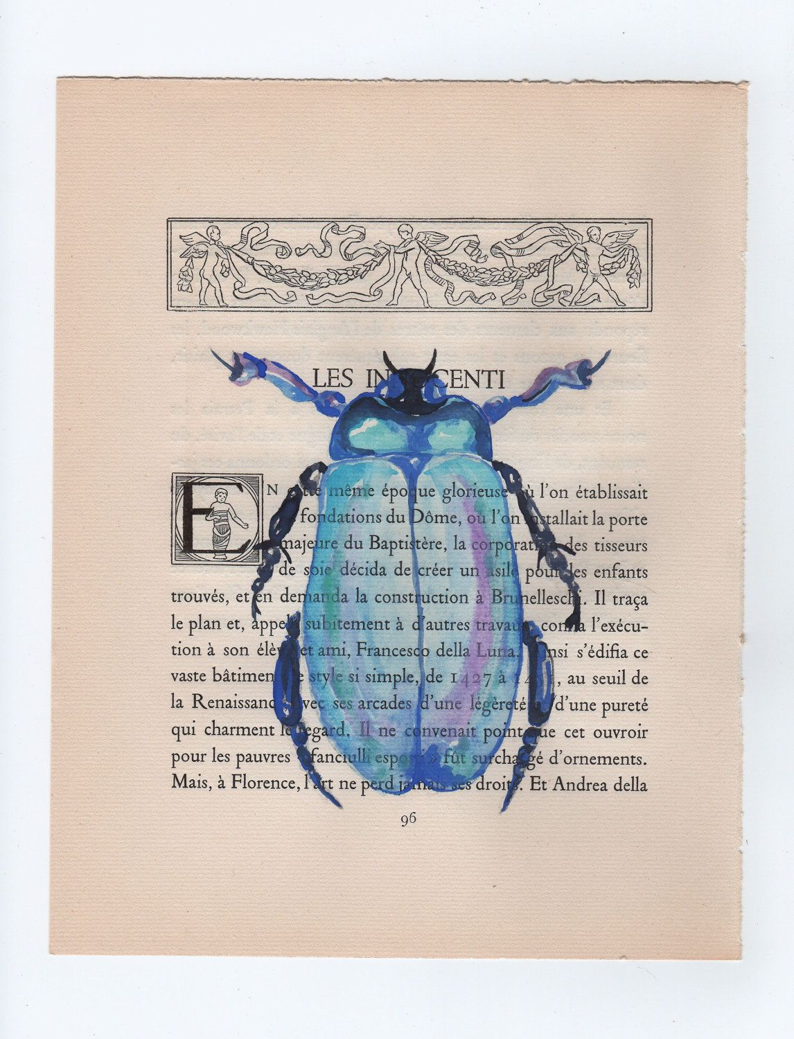 Blue Beetle Original Watercolor Painting On Old Book Page