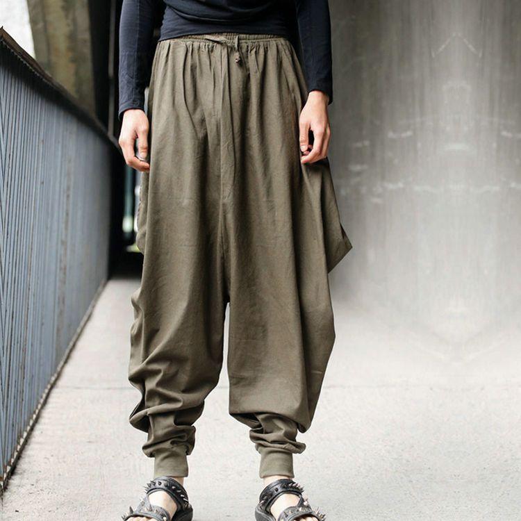 Mens Japanese Samurai Boho Harem Hakama Linen blend Pants Loose Fit Trousers Sz