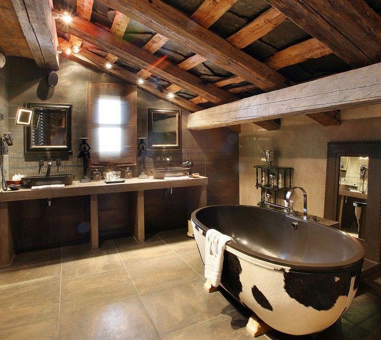 salle de bain rustique sous les combles, carrelage sol gris ...