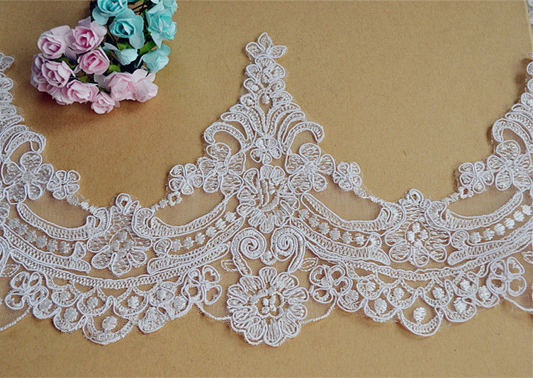 Bridal Dress Lace Trim Embroidered Blossom Ribbon Wedding Gown Corded Edging 1 Y