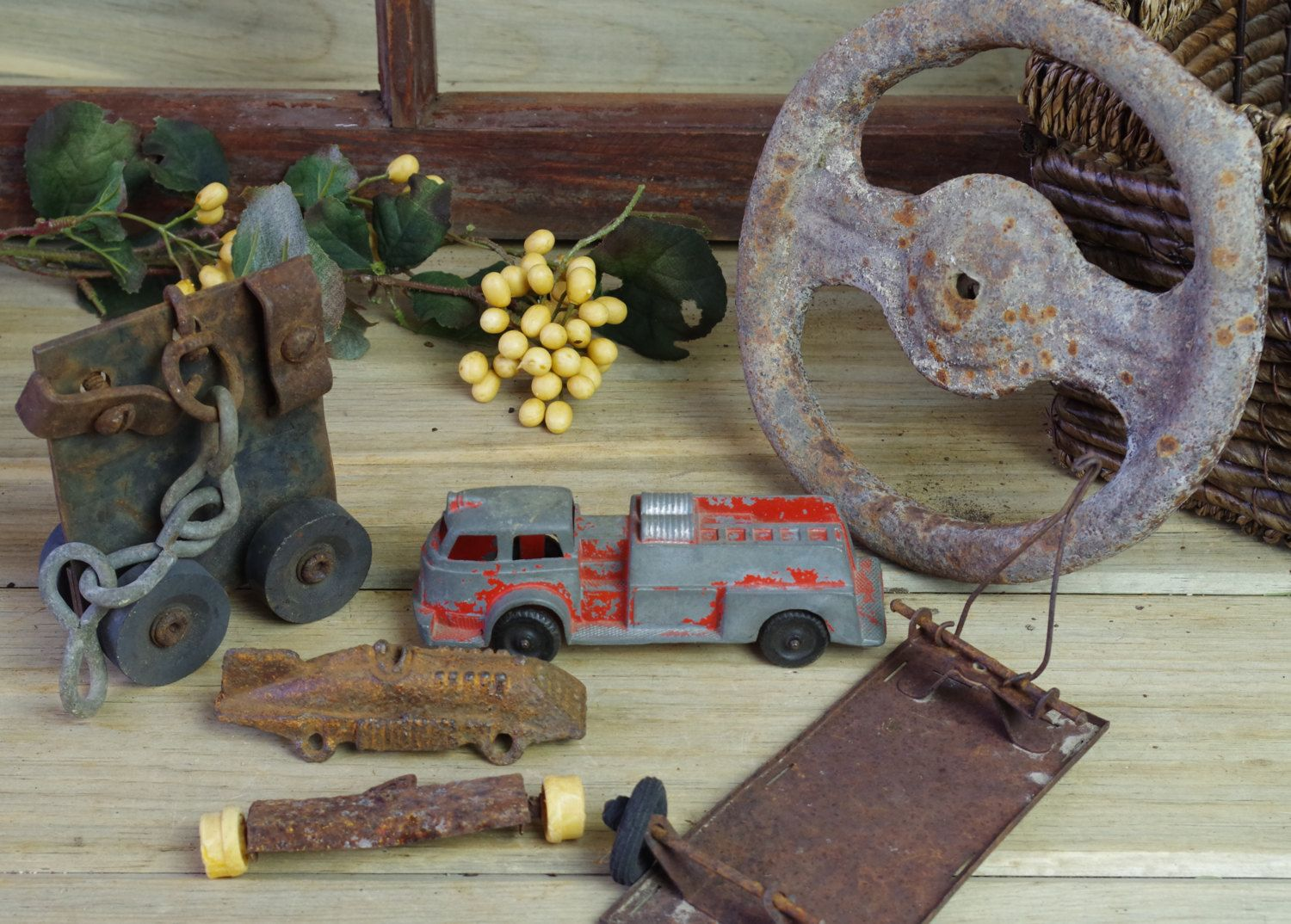 Vintage Fire Engine, Antique Toy Race Car, Train Tracks, Skate, Arrow, Steering…