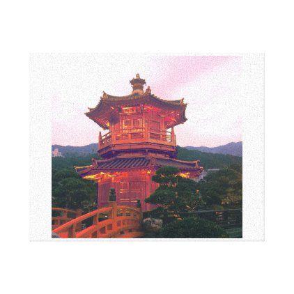 Romantic Sunset in a garden with golden pavilion Canvas Print | Zazzle.com