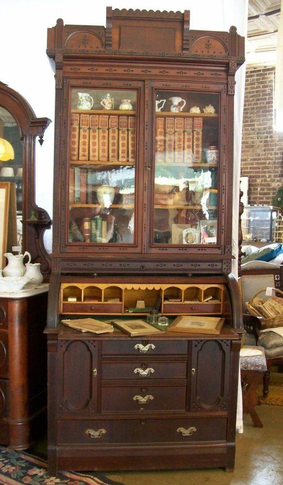 Antique 1870s Walnut Victorian Eastlake Cylinder Top Secretary ...