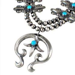 Navajo Silver Flower Squash Blossom Necklace