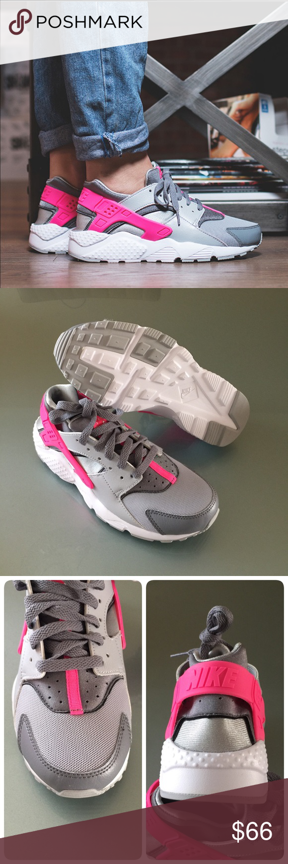 4b589d424200b NIB NIKE grey pink Huarache Run GS ~ 5Y 6.5-7W brand new in box size 5Y  fits women s 6.5 7 wolf grey white cool grey hyper pink comes from smoke  free home ...