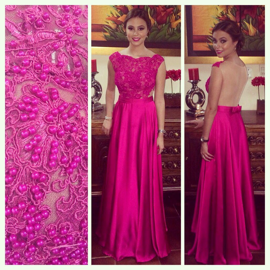 Vestido longo rosa fucsia – Moda Española moderna