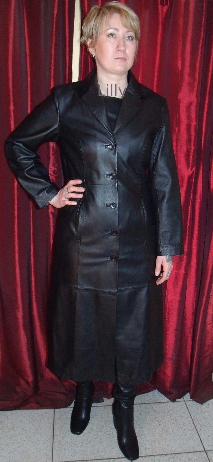 Ladies Long Black MILAN Leather Cuir Cuero Coat Goth Size