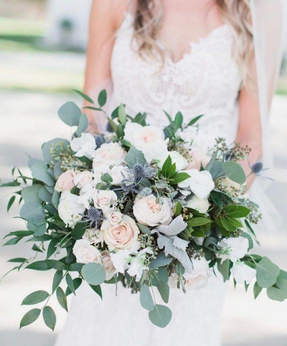 Blush bridal bouquet, ivory bridal bouquet, greenery bridal bouquet, romantic bridal bouquet, bridal bouquet #pinkbridalbouquets
