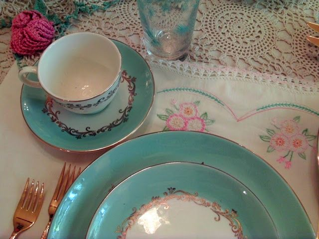 Vintage pillowcases folded in half for placemats