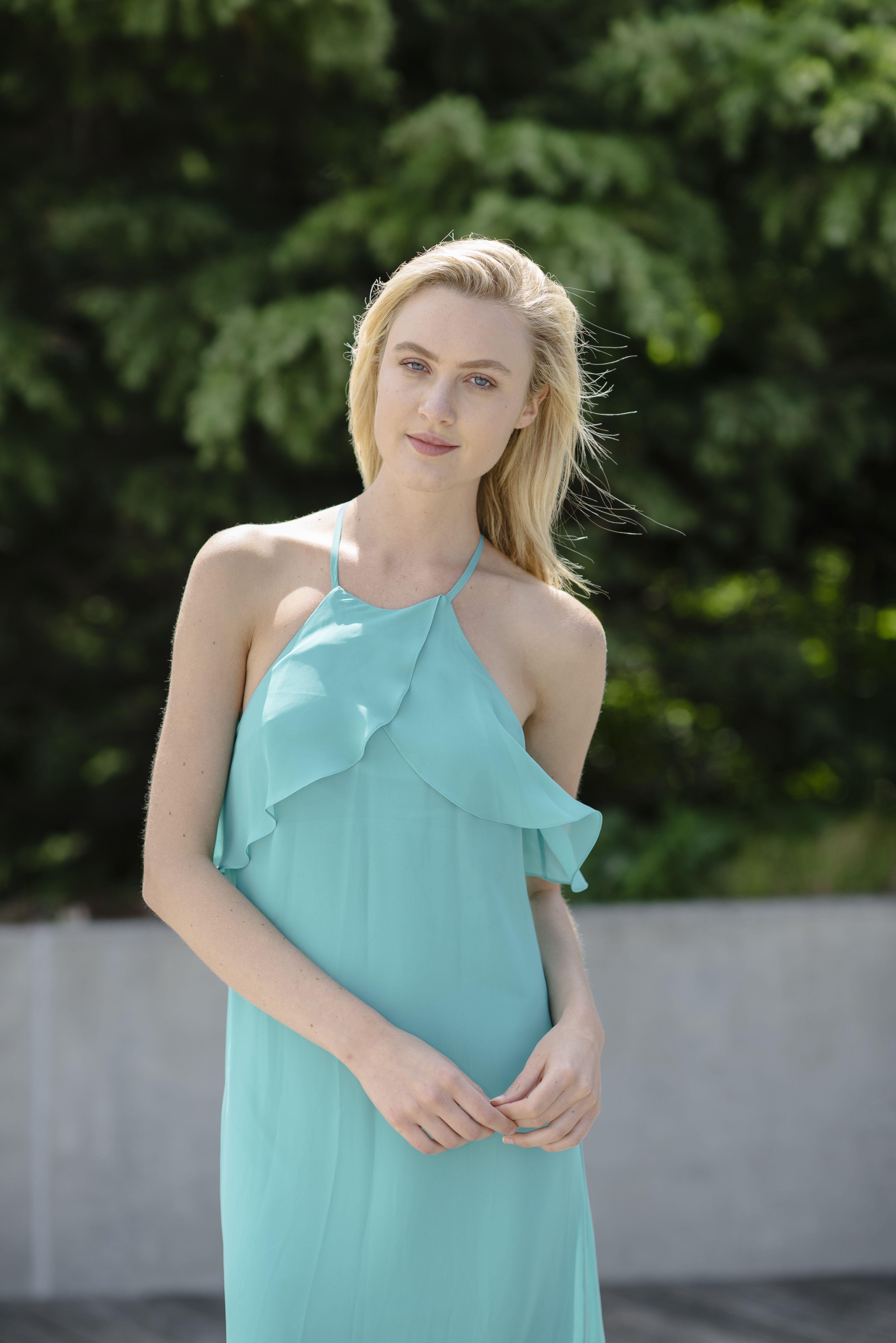 Nouvelle Amsale chiffon bridesmaid dress in Aqua | Nouvelle Amsale ...