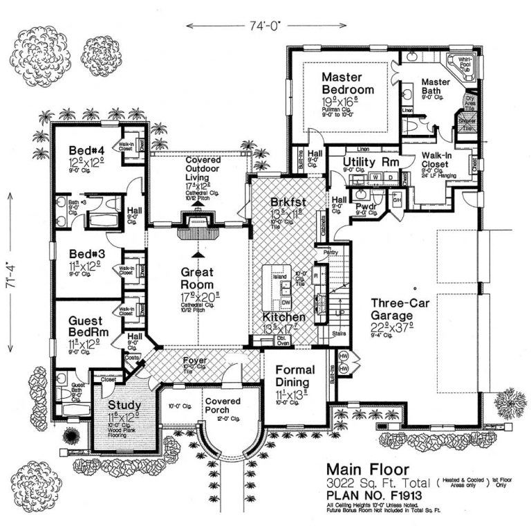 F1913 Fillmore Chambers Design Group One Level House Plans Architectural Design House Plans Basement House Plans