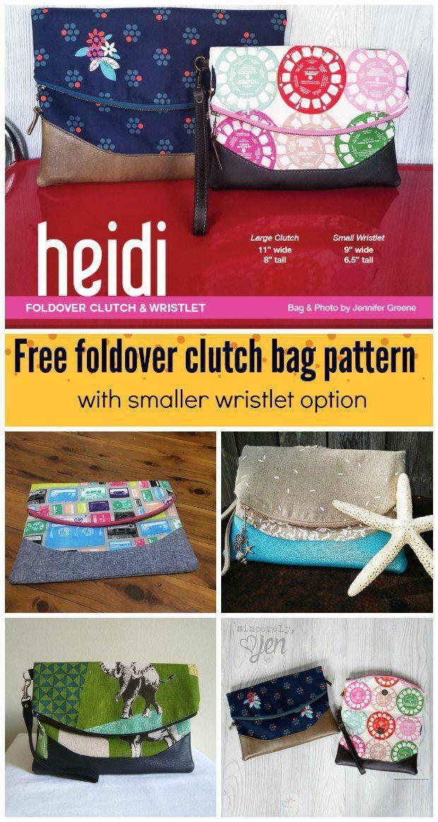 Heidi fold over clutch bag - free pattern | Nähen weihnachten, Diy ...
