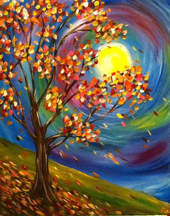 fall moon painting with colorful swirled moon and autumn leaves blowing