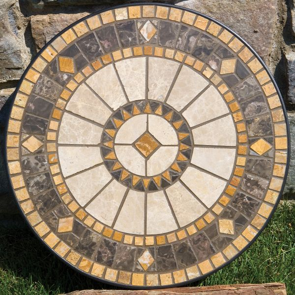 Nice Casual Patio Furniture 60 Compass Marble Mosaic  Dining