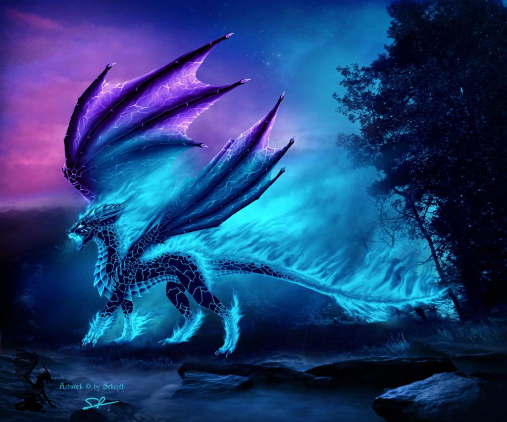 Blue Fire By Selianth On Deviantart Mythical Creatures Art Fantasy Creatures Art Fantasy Dragon