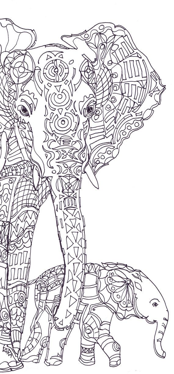 Elephant Clip Art Coloring pages Printable Adult Coloring book