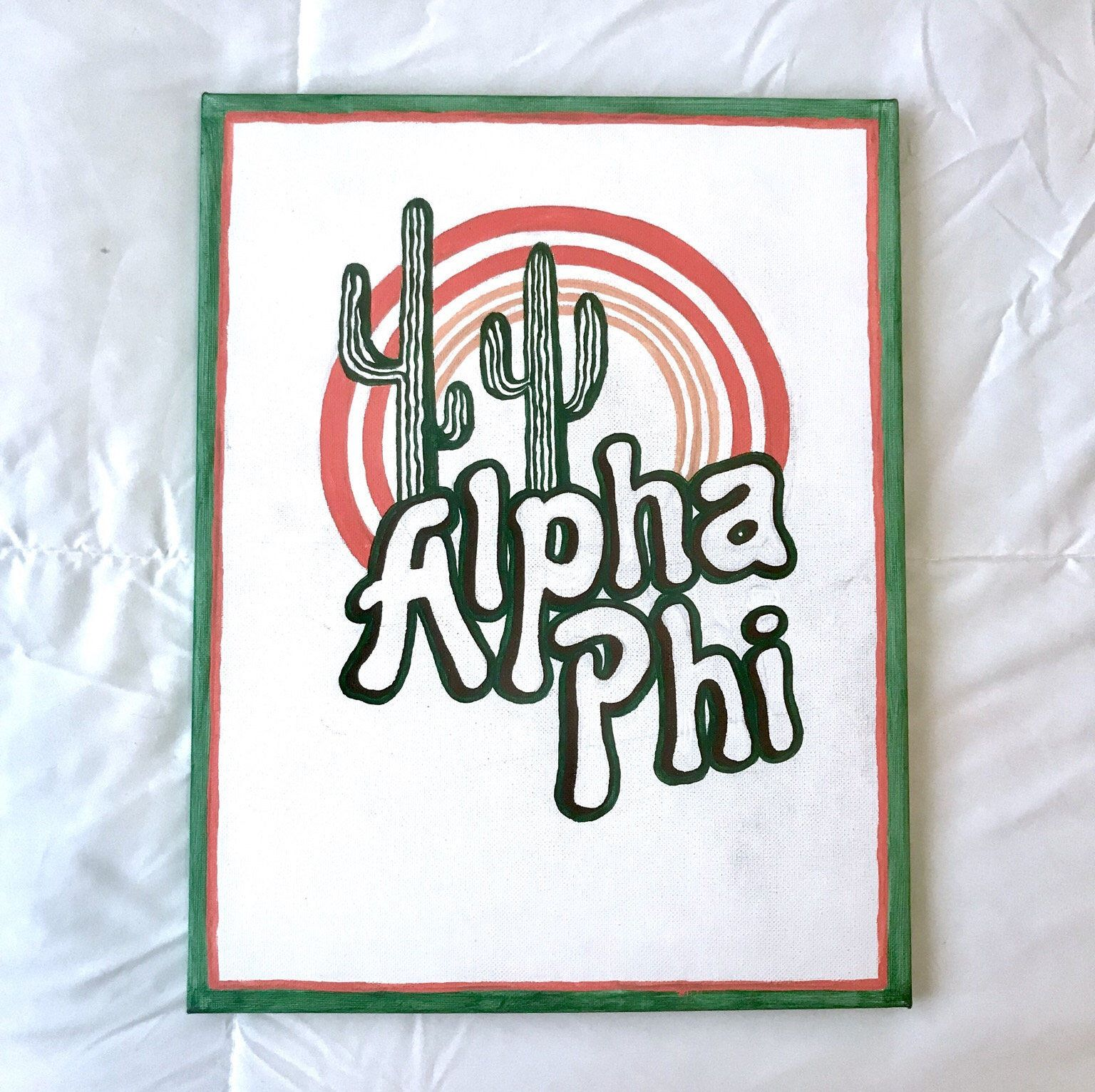 Excited to share the latest addition to my #etsy shop: Alpha Phi Canvas ~ Cactus Sunset #art #painting #cactus #alphaphi #canvas #sorority #biglittlecanvas