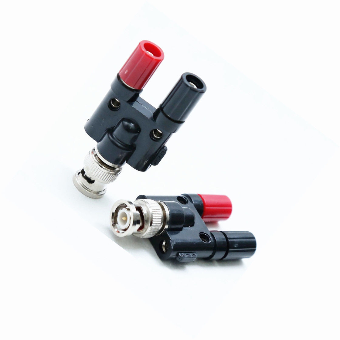BNC Plug to Two Dual 4mm Banana Jack Binding Coaxial Adapter Connector ^P