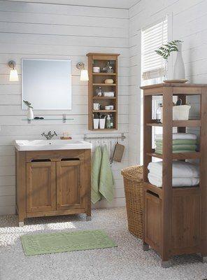Salle de bain home sweet home pinterest interiors - Meuble salle de bain bois ikea ...