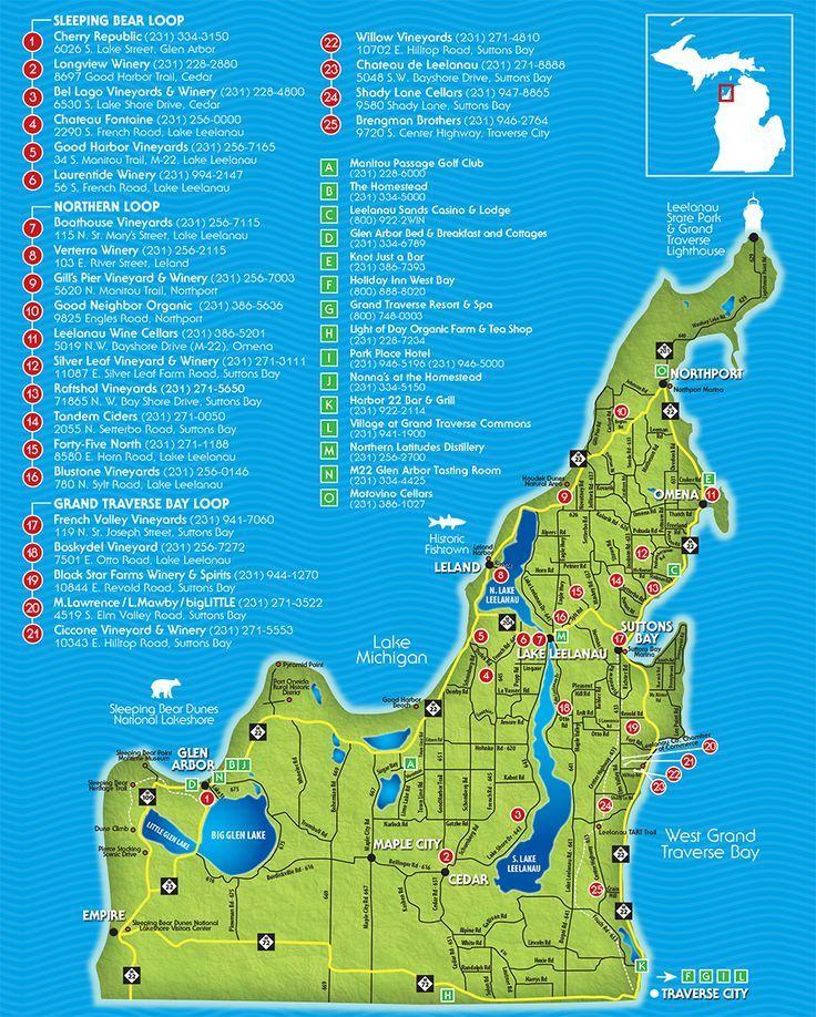 Traverse City Wine Trail Map Leelanau Peninsula Wineries Wine