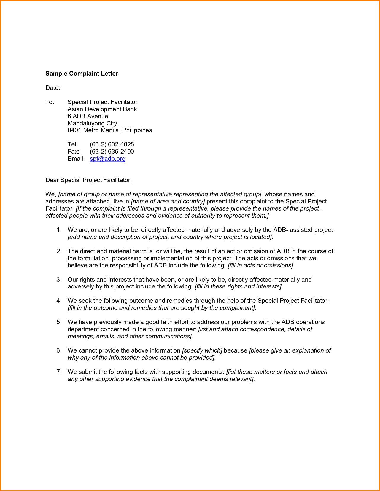 Complaint Email Format Business Letter Sample With Template Home
