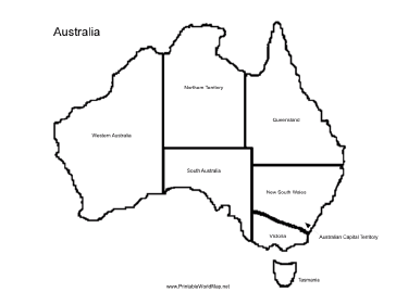 A printable map of the continent of Australia labeled with the