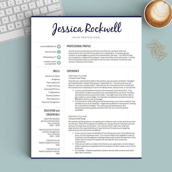 Creative Resume Template for Word and Pages The Jessica - Instant - mac pages resume templates