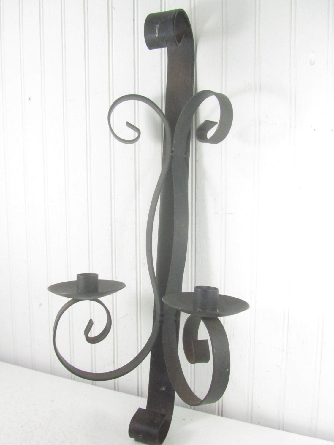 Wrought Iron Candle Holder, Candle Sconce, Metal Candle Holder, Candle Holder, Candle Stick, by KarensChicNShabby on Etsy