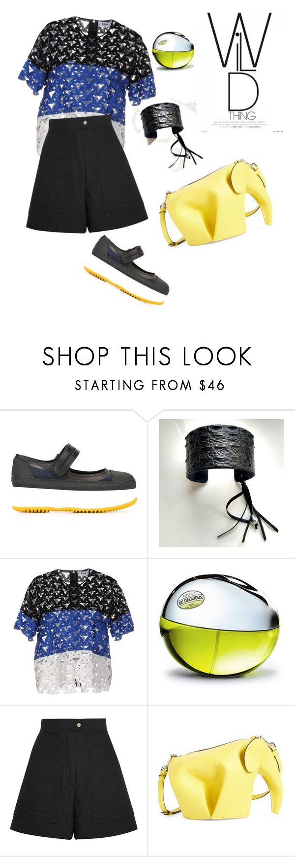 """""""go wild!#finepearls & crocodile bracelet"""" by olivia-stones ❤ liked on Polyvore featuring Marni, MSGM, DKNY, Isabel Marant and Loewe"""